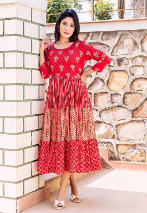 Block Printed Cotton Tiered Kurta in Red