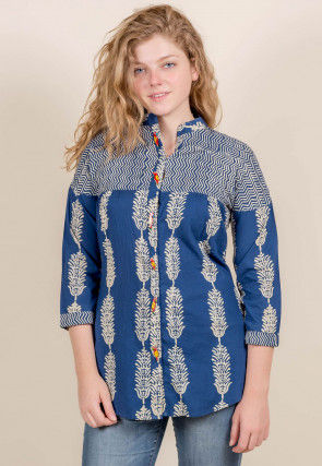 Block Printed Cotton Top in Indigo Blue