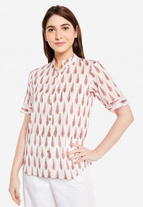 Block Printed Cotton Top in Off White