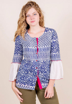 Block Printed Cotton Top in White and Blue