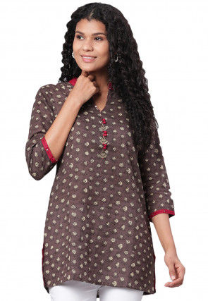 Block Printed Cotton Tunic in Brown