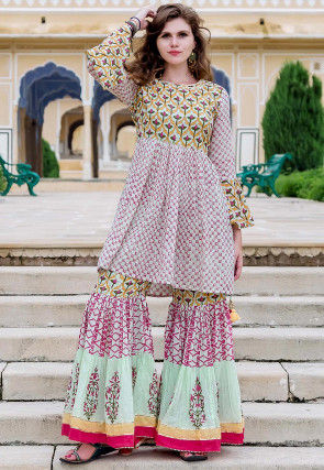 Block Printed Cotton Tunic with Sharara in Multicolor