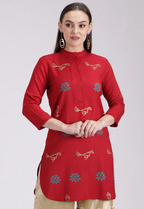 Block Printed Cotton Viscose Straight Kurti in Red