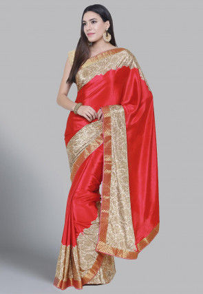 Block Printed Crepe Saree in Coral Red