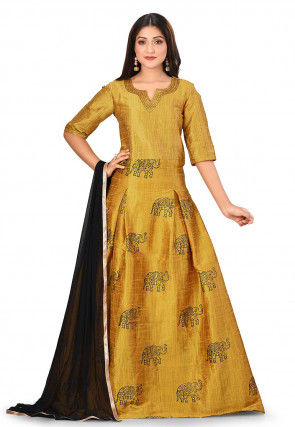 Block Printed Dupion Silk Abaya Style Suit in Mustard