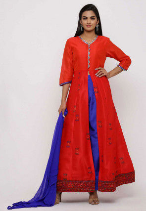 Block Printed Dupion Silk Abaya Style Suit in Red