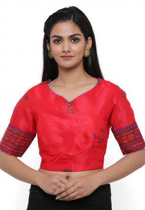 Block Printed Dupion Silk Blouse in Red