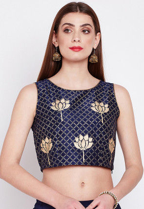 Block Printed Dupion Silk Crop Top in Navy Blue