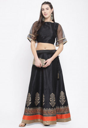 Block Printed Dupion Silk Crop Top Set in Black