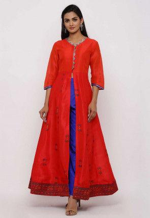 Block Printed Dupion Silk Front Open Anarkali Kurta in Red