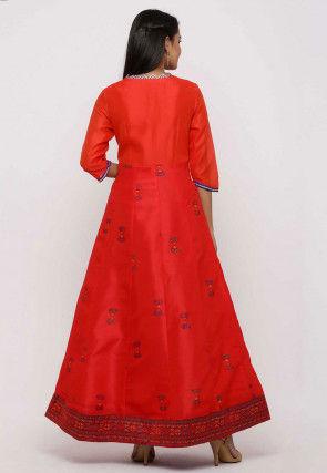 Block Printed Dupion Silk Front Open Anarkali Kurta Set in Red