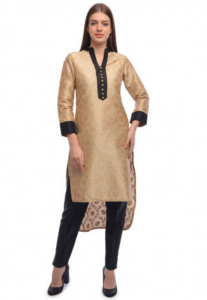 Block Printed Dupion Silk High Low Kurta in Beige