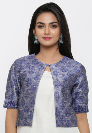 Block Printed Dupion Silk Jacket in Blue