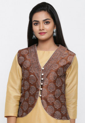 Block Printed Dupion Silk Jacket in Brown