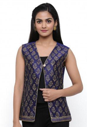 Block Printed Dupion Silk Jacket in Dark Blue