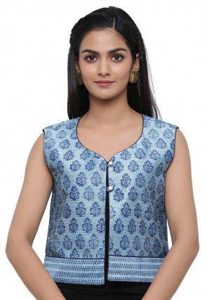 Block Printed Dupion Silk Jacket in Pastel Blue
