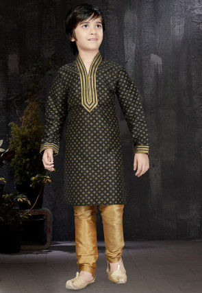 Block Printed Dupion Silk Kurta Set in Black