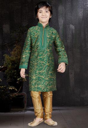 Block Printed Dupion Silk Kurta Set in Green