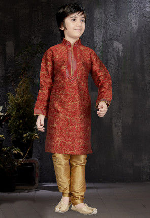 Block Printed Dupion Silk Kurta Set in Maroon