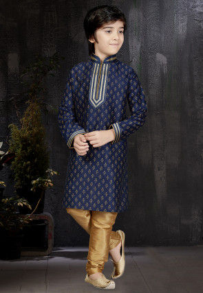 Block Printed Dupion Silk Kurta Set in Navy Blue