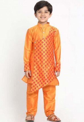 Block Printed Dupion Silk Kurta Set in Orange