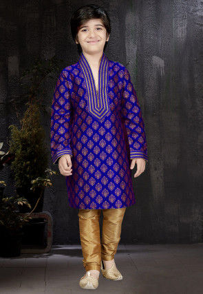 Block Printed Dupion Silk Kurta Set in Royal Blue