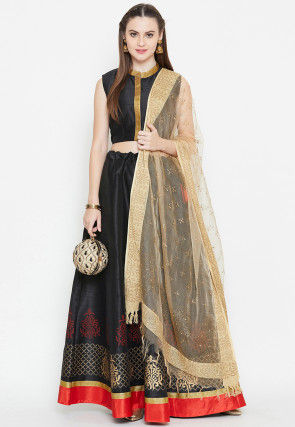 Block Printed Dupion Silk Lehenga in Black
