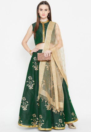 Block Printed Dupion Silk Lehenga in Dark Green