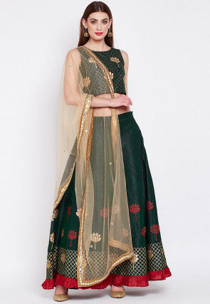 Block Printed Dupion Silk Lehenga in Green