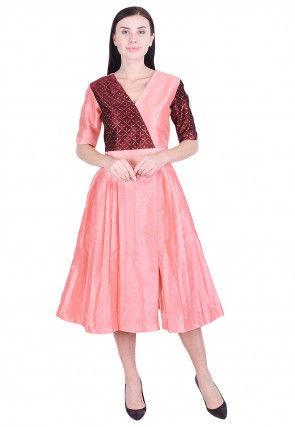 Golden Printed Dupion Silk Pleated Dress in Peach