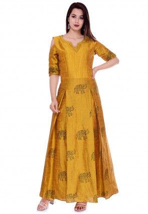 Block Printed Dupion Silk Pleated Long Kurta in Mustard