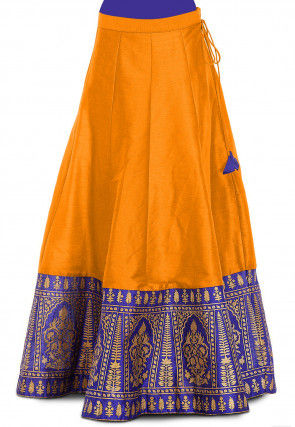 Gold Printed Dupion Silk Skirt in Mustard