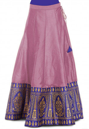 Gold Printed Dupion Silk Skirt in Lilac
