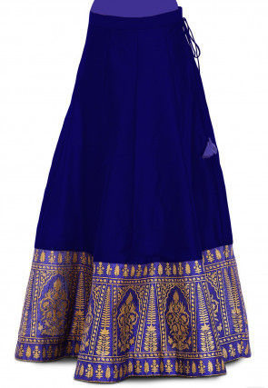 Gold Printed Dupion Silk Skirt in Royal Blue