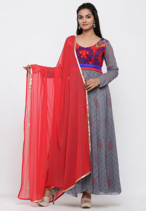 Block Printed Georgette Anarkali Suit in Grey