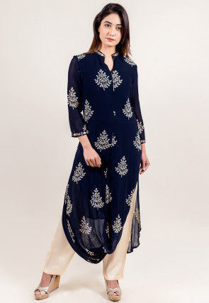 Block Printed Georgette Cowl Style Kurta Set in Navy Blue