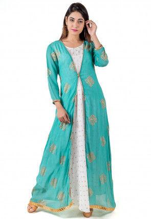 Block Printed Georgette Jacket Style Kurta in Turquoise