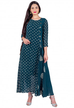 Block Printed Georgette Long Kurta in Teal Blue