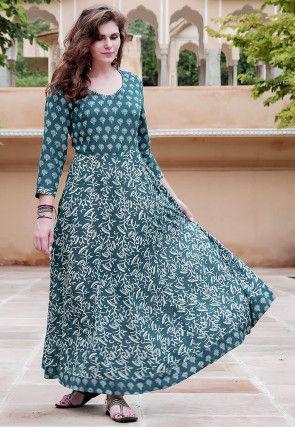 Block Printed Indigo Modal Cotton Dress in Dark Blue