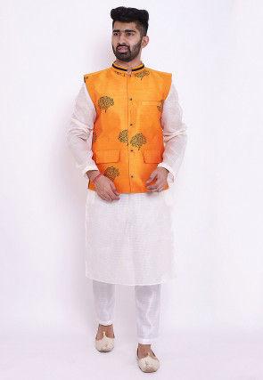 Block Printed Kota Silk Kurta Jacket Set in White and Orange