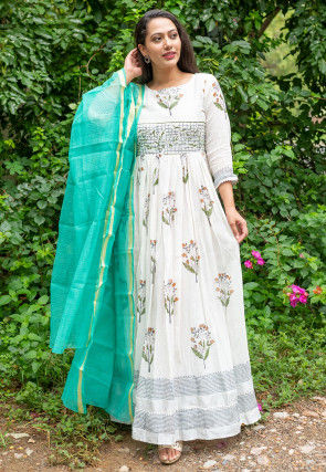 Block Printed Linen Cotton Abaya Style Suit in Off White