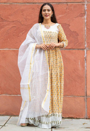 Block Printed Linen Cotton Abaya Style Suit in Yellow