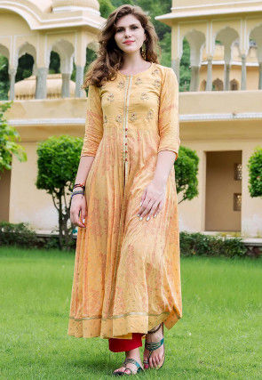 Block Printed Modal Cotton Kurta with Pant in Light Yellow