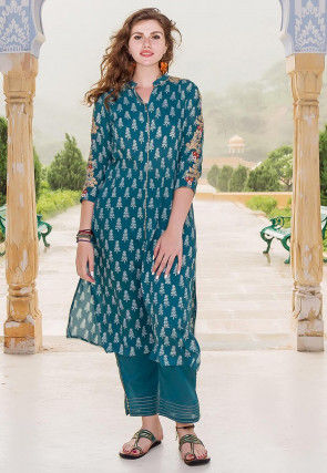 Block Printed Modal Cotton Kurta with Pant in Teal Blue