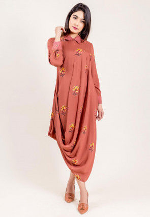 Block Printed Modal Satin Cowl Style Kurta in Rust