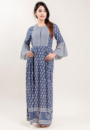 Block Printed Modal Satin Gown in Blue