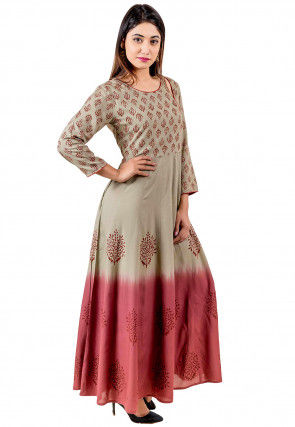Block Printed Modal Satin Long Kurta in Fawn and Old Rose