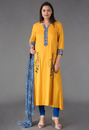 Block Printed Placket Rayon Asymmetrical Suit in Mustard