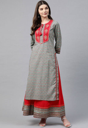Block Printed Pure Cotton Kurta with Palazzo in Dusty Blue
