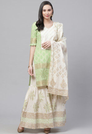 Block Printed Pure Cotton Pakistani Suit in Light Green